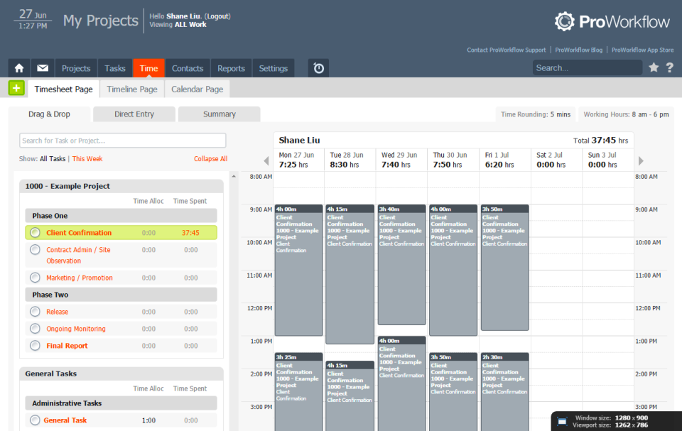 Aufgaben und zeitliche Einteilung von Angestellten inProWorkflow